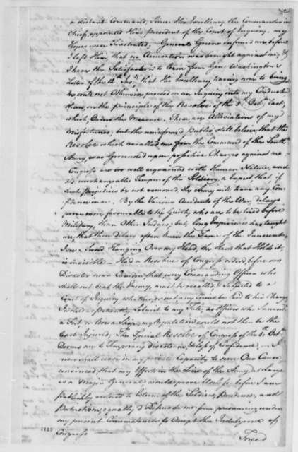 Horatio Gates, April 29, 1781, Court of Inquiry on Horatio Gates' Conduct as Commander of Southern Army