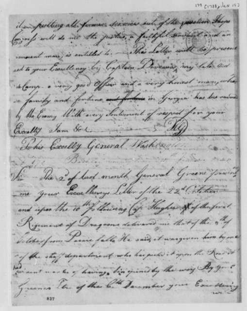 Horatio Gates to George Washington, January 15, 1781