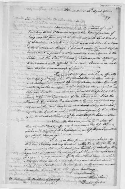 Horatio Gates to Samuel Huntington, April 24, 1781
