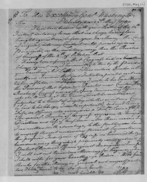 Horatio Huntington to George Washington, May 22, 1781