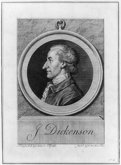 J. Dickenson [sic] / drawn from the life by Du Simitier in Philadelphia ; engraved by B.L. Prevost at Paris.