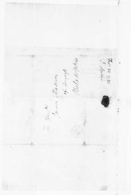 Jacquelin Ambler to James Madison, December 22, 1781.