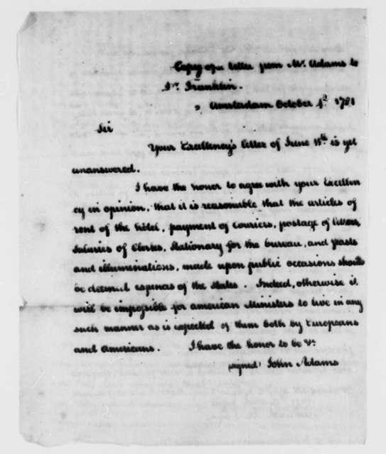 John Adams to Benjamin Franklin, October 4, 1781