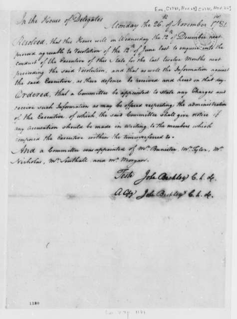 John Harvie to Thomas Jefferson, November 27, 1781, with Resolution to Investigate Thomas Jefferson's Conduct as Governor
