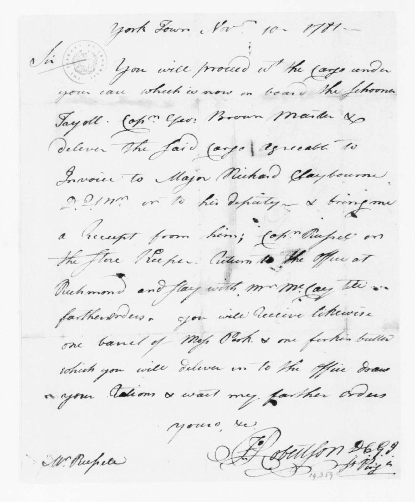 John Robertson to William Russelll, November 10, 1781.