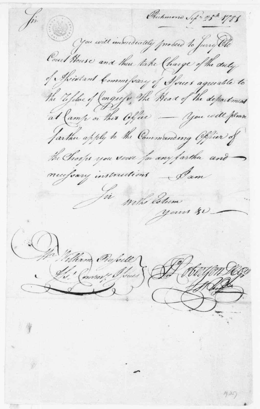 John Robertson to William Russelll, September 25, 1781.