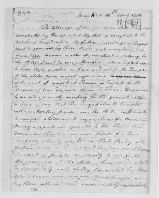 Joseph Jones to Thomas Jefferson, April 16, 1781
