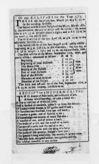 "Newspaper Clippings, September 1781, ""Receipt for a Modern Critic"" (Poem); Eclipses for 1783; Astronomy"