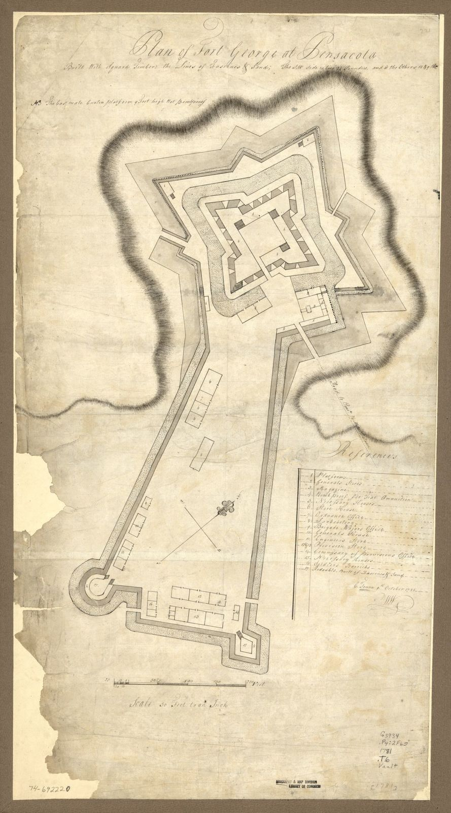 Plan of Fort George at Pensacola.