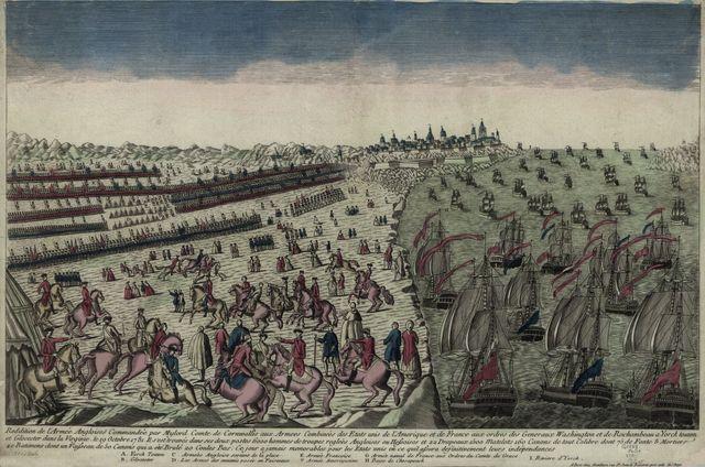 Reddition de l'Armée angloises commandée par Mylord Comte de Cornwallis aux armees combinées des Etats Unis de l'Amérique et de France aux ordres des Generaux Washington et de Rochambeau a Yorck Touwn et Glocester dans la Virginie, le 19 Octobre 1781.