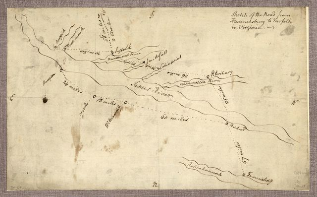 Sketch of the road from Fredericksburg to Norfolk in Virginia.