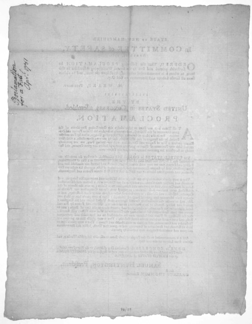 State of New-Hampshire. In Committee of Safety, April 14, 1781. Ordered that the following proclamation be forthwith printed and sent to the several worshipping assemblies in this State, to whom it is recommended religiously to observe the same,