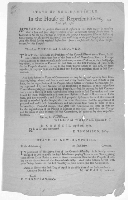 State of New-Hampshire. In the House of representatives, April 5th, 1781. Whereas the present situation of affairs in this State makes it necessary that a full and free representation of the inhabitants thereof should meet in convention for the
