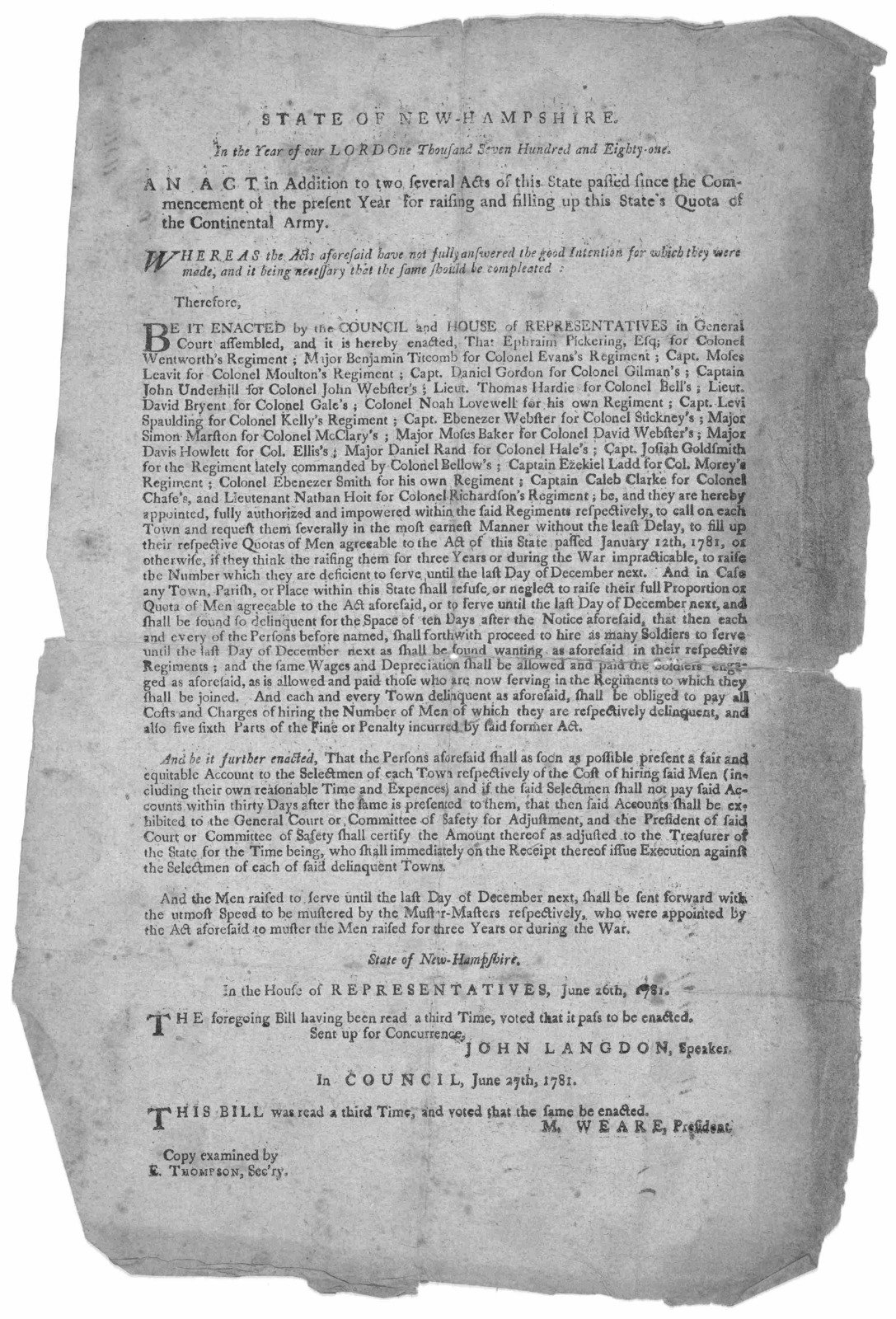 State of New Hampshire. In the year of our Lord one thousand seven hundred and eighty-one. An act in addition to two several acts of this state passed since the commencement of the present year for raising and filling up this State's quota of th