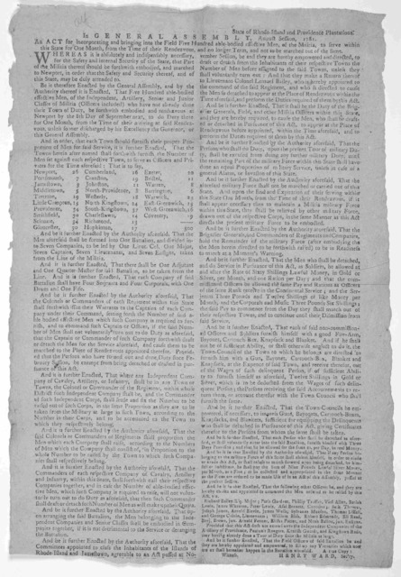 State of Rhode Island and Providence plantations. In General Assembly, August session, 1781. An act for incorporating and bringing into the field five hundred able-bodied effective men, of the militia, to serve within this State, for one month,