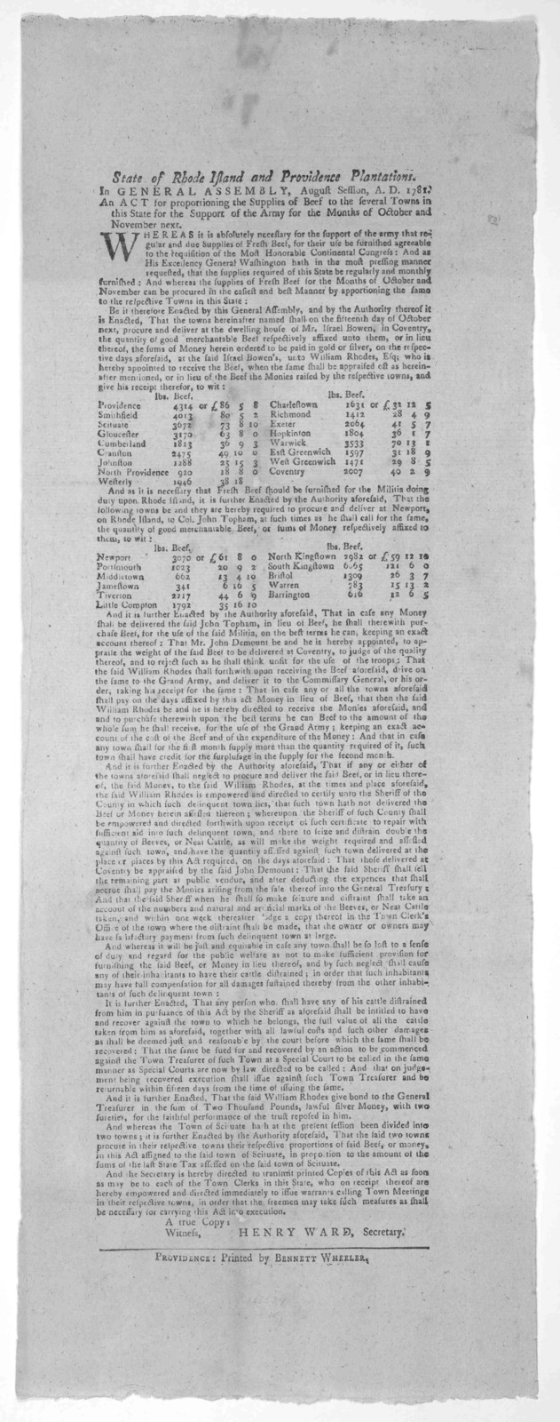 State of Rhode Island and Providence plantations. In General Assembly, August session, A. D. 1781. An act for proportioning the supplies of beef to the several towns in this State for the support of the army for the months of October and Novembe