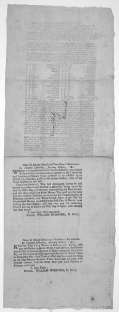 State of Rhode Island and Providence plantations.. In General Assembly, January session, 1781. An act proportioning to the several towns in this state, and for collecting fresh beef for supplying the army of the United States ... [Providence: Pr