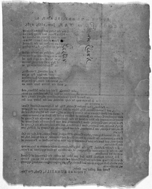 State of Rhode-Island, &c. In Council of war, June 16th, 1781. Whereas it appears to this Council that the safety and internal security of this state renders it necessary that the militia force, now doing duty on the island of Rhode Island, shou