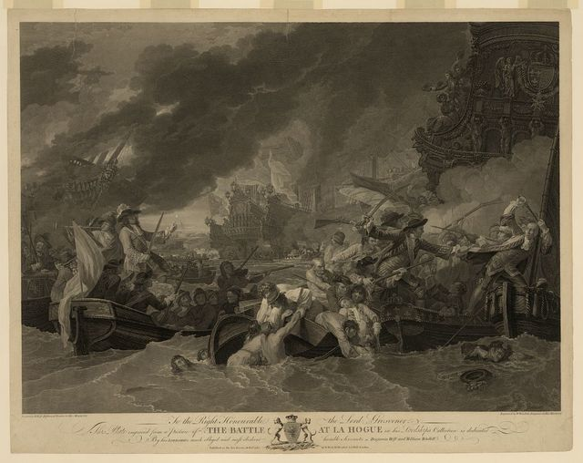 The Battle at La Hogue / painted by B. West, historical painter to His Majesty ; engraved by W. Woollett, engraver to His Majesty.