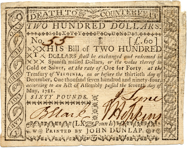 This bill of two hundred dollars shall be exchanged and redeemed in Spanish milled dollars, or the value thereof in gold or silver, at the rate of one for forty at the treasury of Virginia, on or before the thirtieth day of December, one thousand seven hundred and ninety-four, according to an act of assembly passed the seventh day of May, 1781.