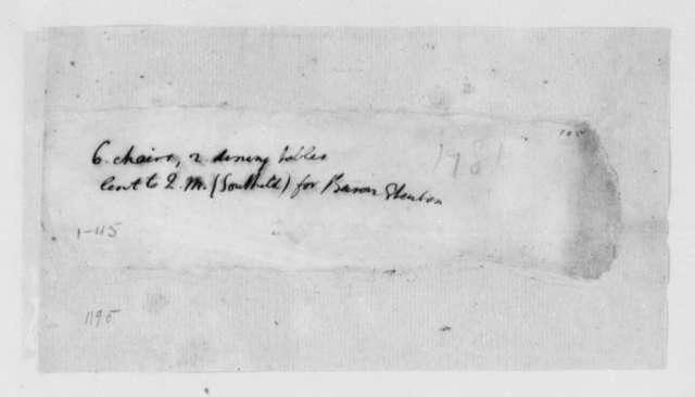 Thomas Jefferson, 1781, Memorandum on Chairs and Tables
