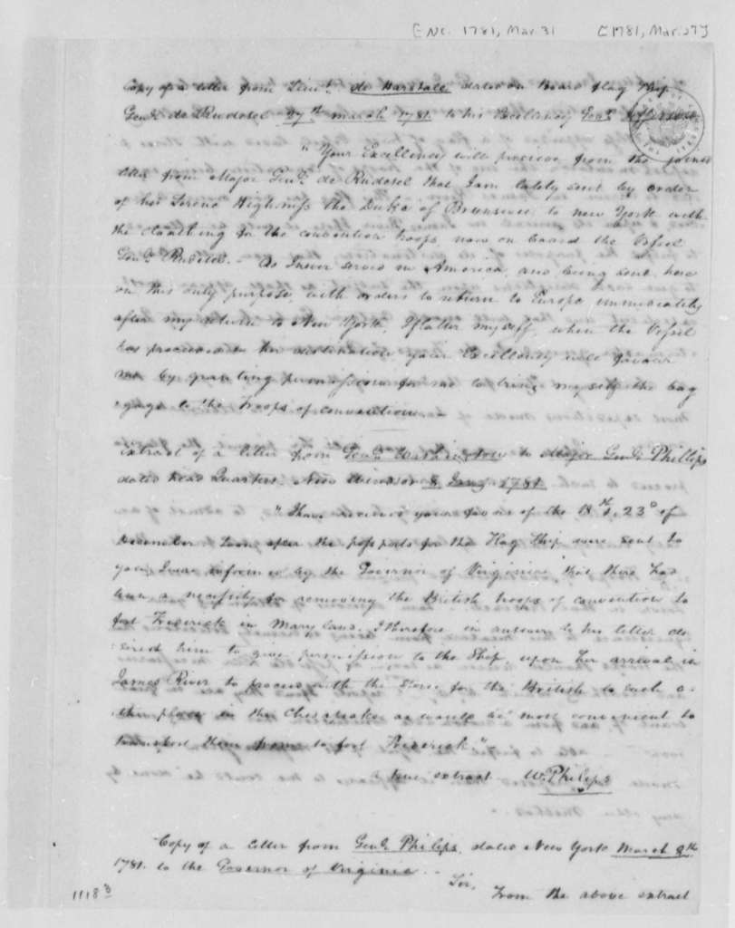 Thomas Jefferson, January 8, 1781, Extracts of Letters from George Washington, de Herstale, and William Phillips