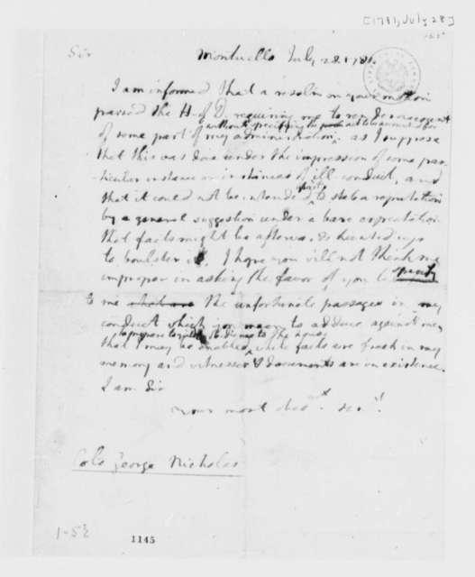 Thomas Jefferson to George Nicholas, July 28, 1781