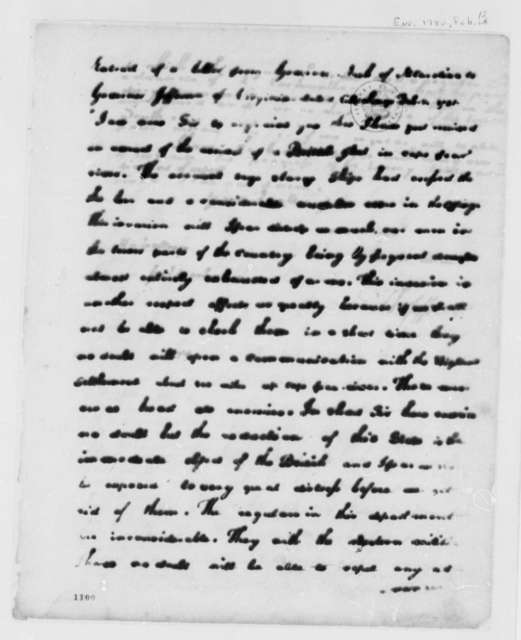 Thomas Jefferson to George Washington, February 12, 1781, with Extract