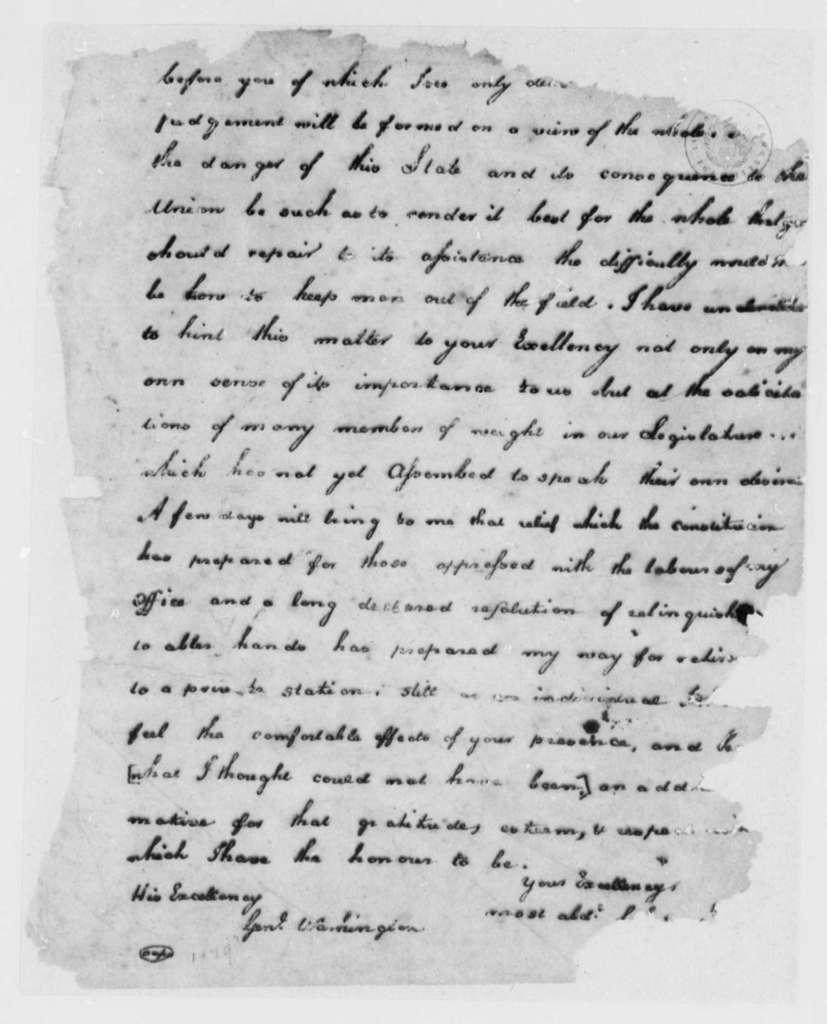 Thomas Jefferson to George Washington, May 28, 1781