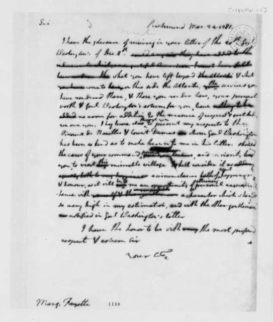 Thomas Jefferson to Marie Joseph Paul Yves Roch Gilbert du Motier, Marquis de Lafayette, March 24, 1781