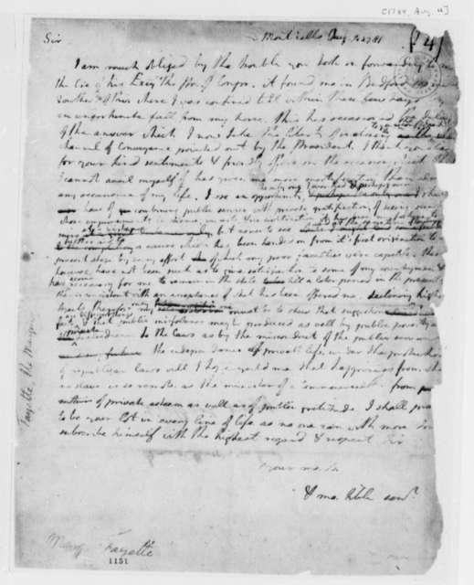Thomas Jefferson to Marie Joseph Paul Yves Roch Gilbert du Motier, Marquis de Lafayette, August 4, 1781