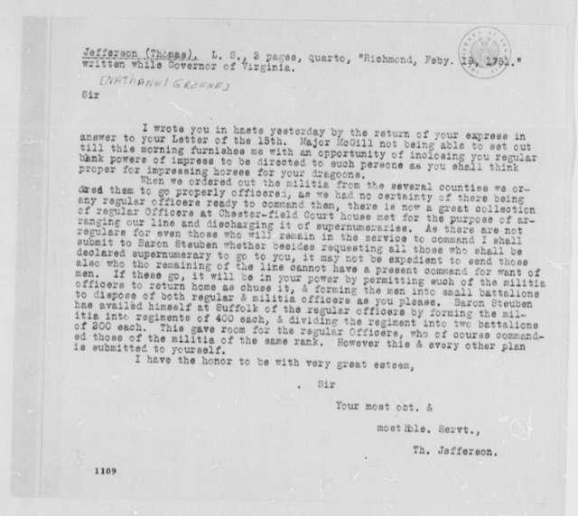 Thomas Jefferson to Nathanael Greene, February 19, 1781, Typescript Copy