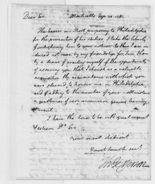Thomas Jefferson to Richard Peters, September 30, 1781, Letter of Introduction for William Short