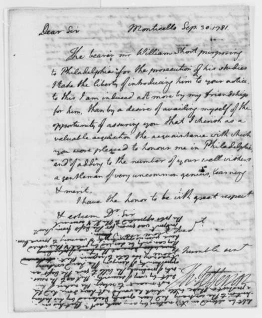 Thomas Jefferson to Robert Morris, September 30, 1781, Letter of Introduction for William Short