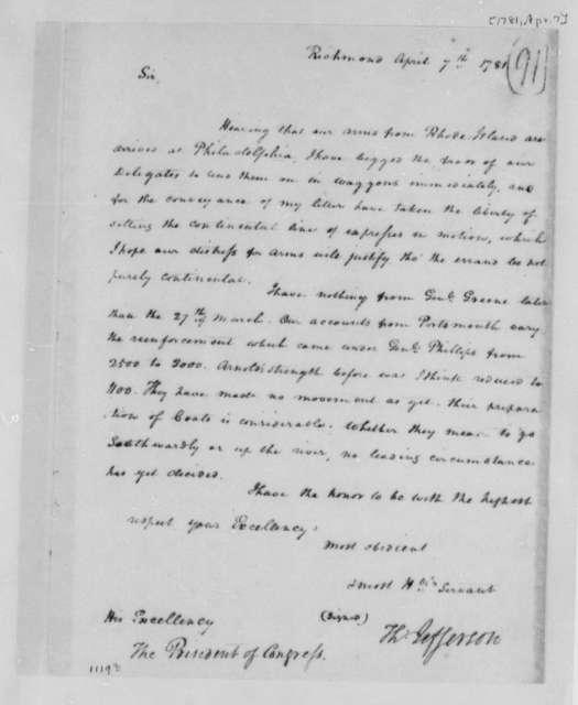 Thomas Jefferson to Samuel Huntington, April 7, 1781