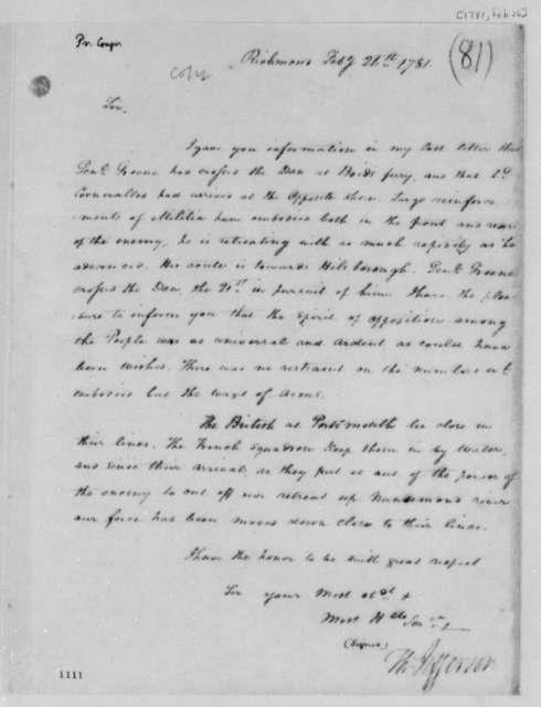 Thomas Jefferson to Samuel Huntington, February 26, 1781