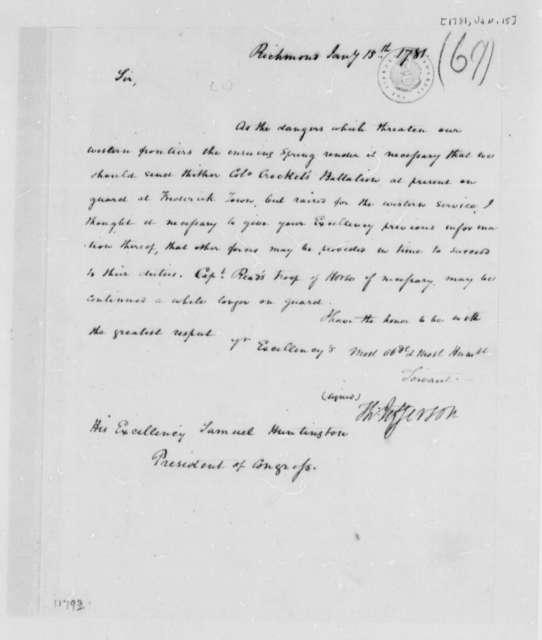 Thomas Jefferson to Samuel Huntington, January 15, 1781