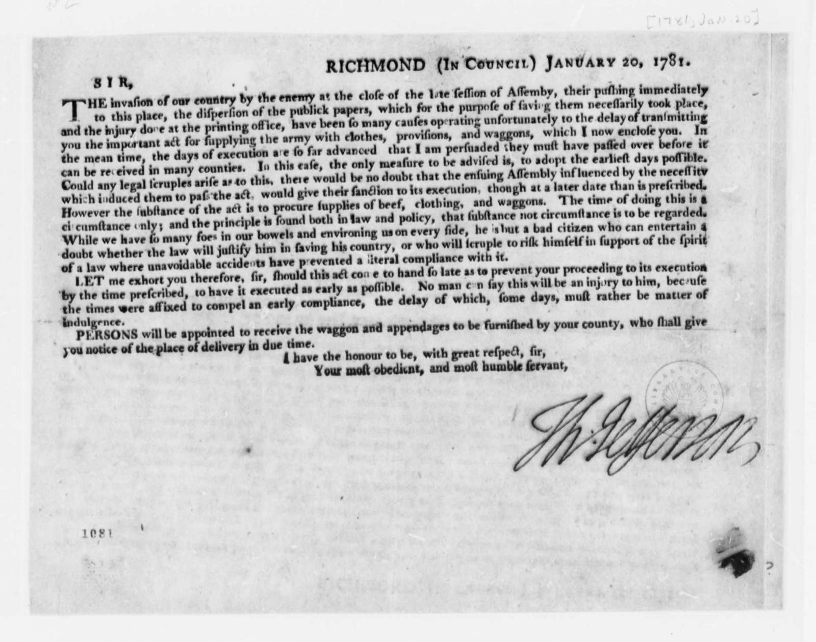 Thomas Jefferson to the First Magistrate of Each Virginia County, January 20, 1781, Printed Proclamation on Supplying Continental Army with Provisions