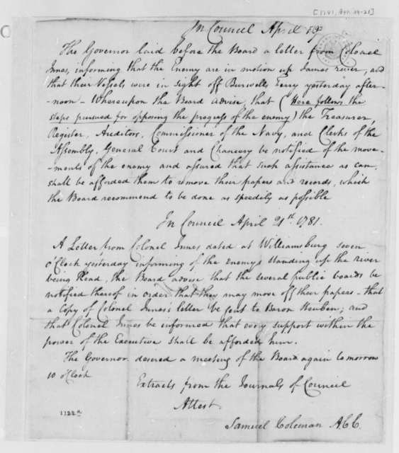 Virginia Council, April 19, 1781, Invasion by British Navy; Extract from Journals