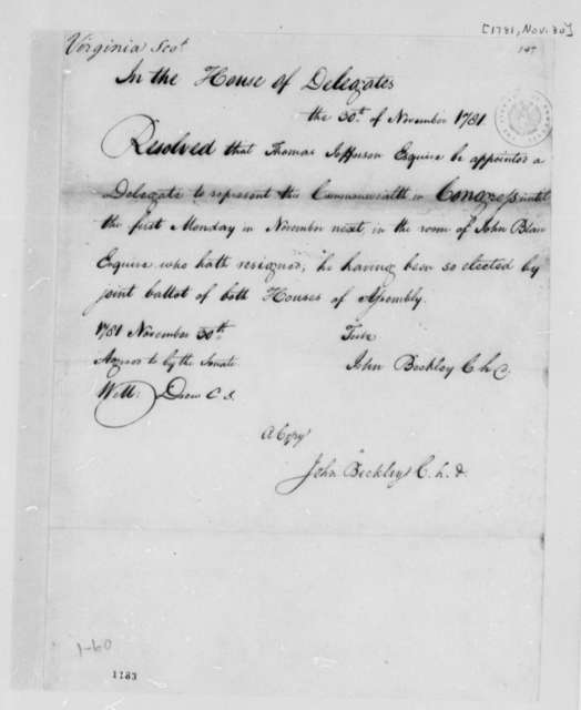 Virginia House of Delegates, November 30, 1781, Resolution Appointing Thomas Jefferson to Replace John Blair as Virginia Delegate to Congress