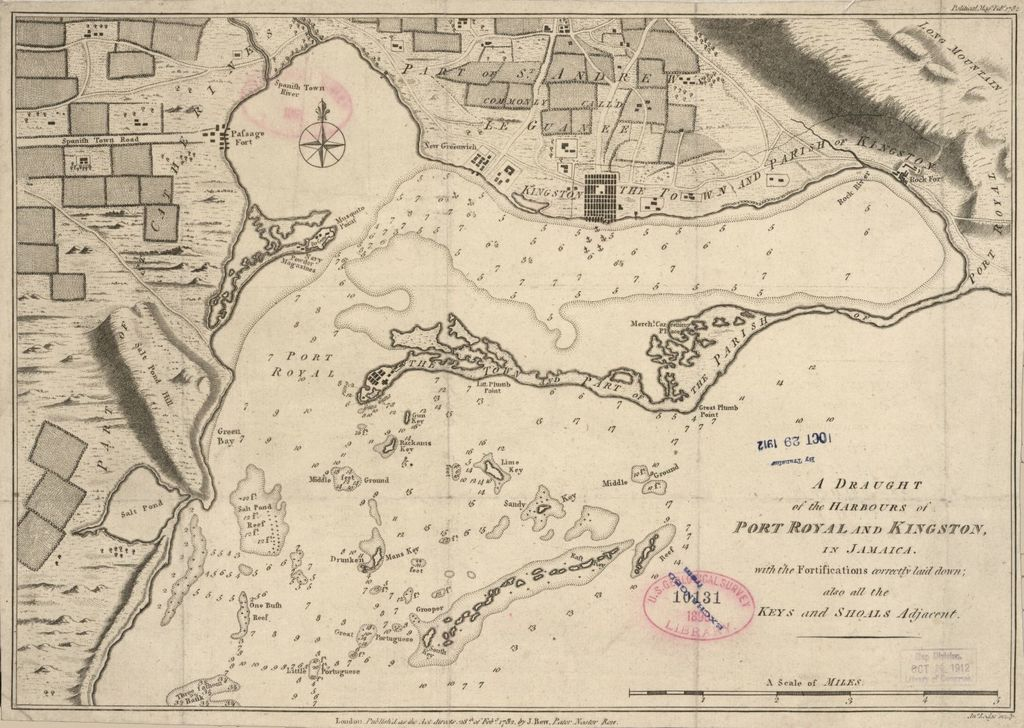 A draught of the harbours of Port Royal and Kingston in Jamaica with the fortifications correctly laid down, also all the keys and shoals adjacent /