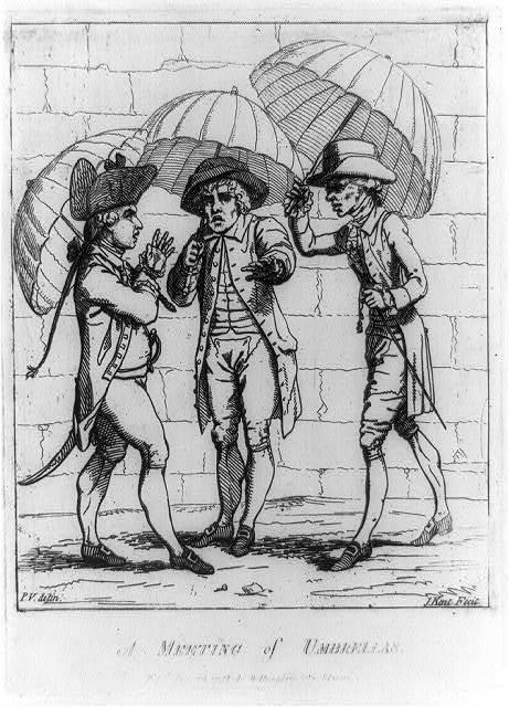A Meeting of umbrellas / P.V., delin. ; J. Kent, fecit.