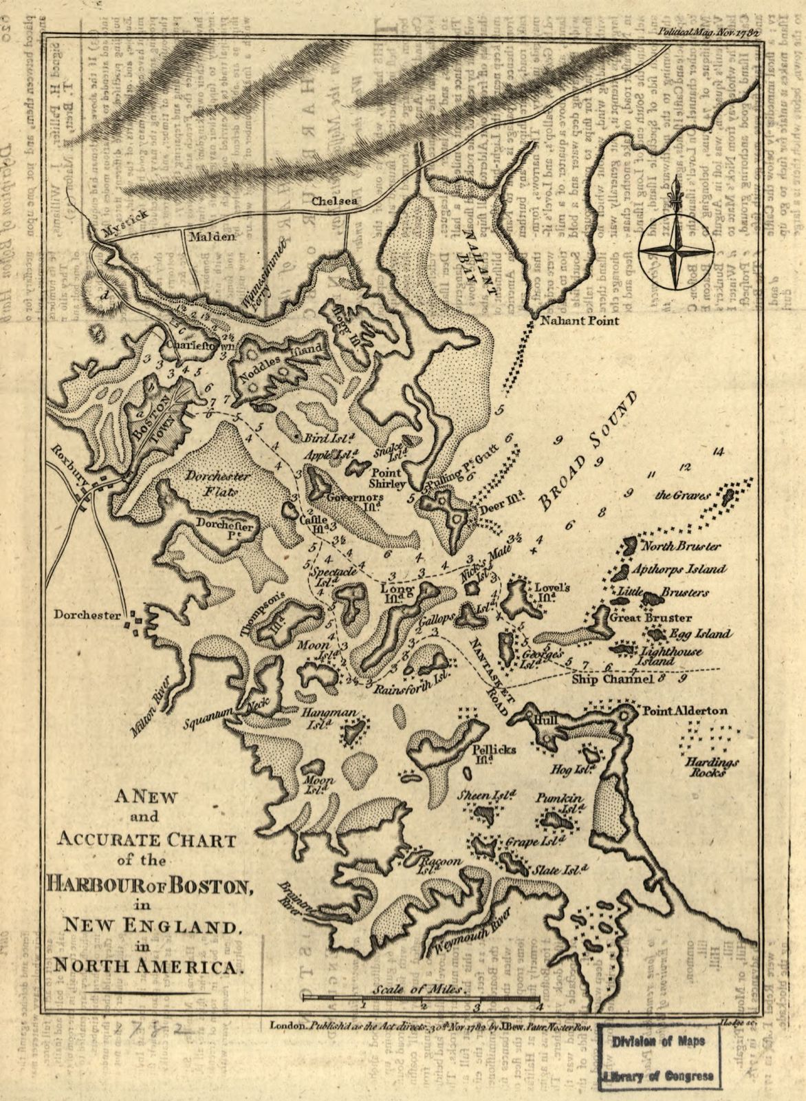 A new and accurate chart of the harbour of Boston in New England in North America /