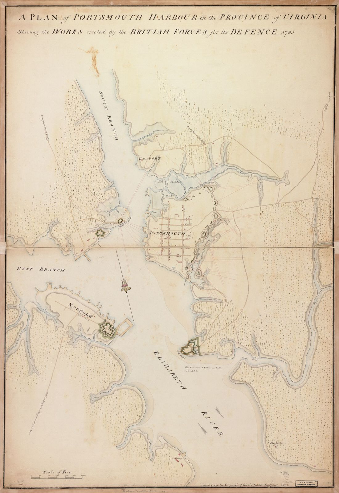 A plan of Portsmouth Harbour in the province of Virginia shewing the works erected by the British forces for its defence, 1781.