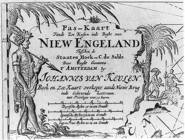 [Allegorical cartouche showing a Native man with harpoon and a European man with two Natives in a tropical setting]