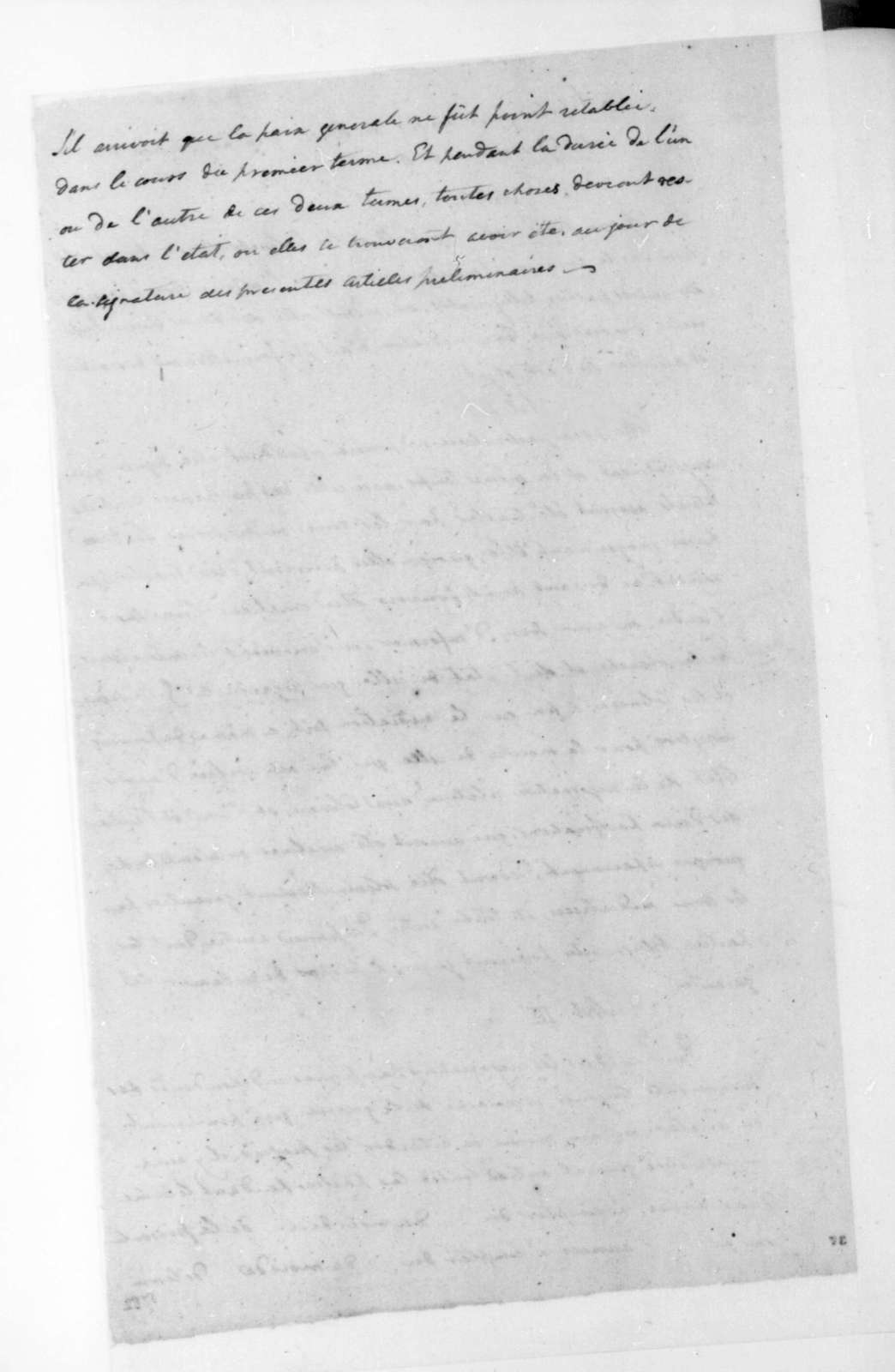 April, 1782. Articles in French of Revolutionary War Preliminary Peace Agreement.