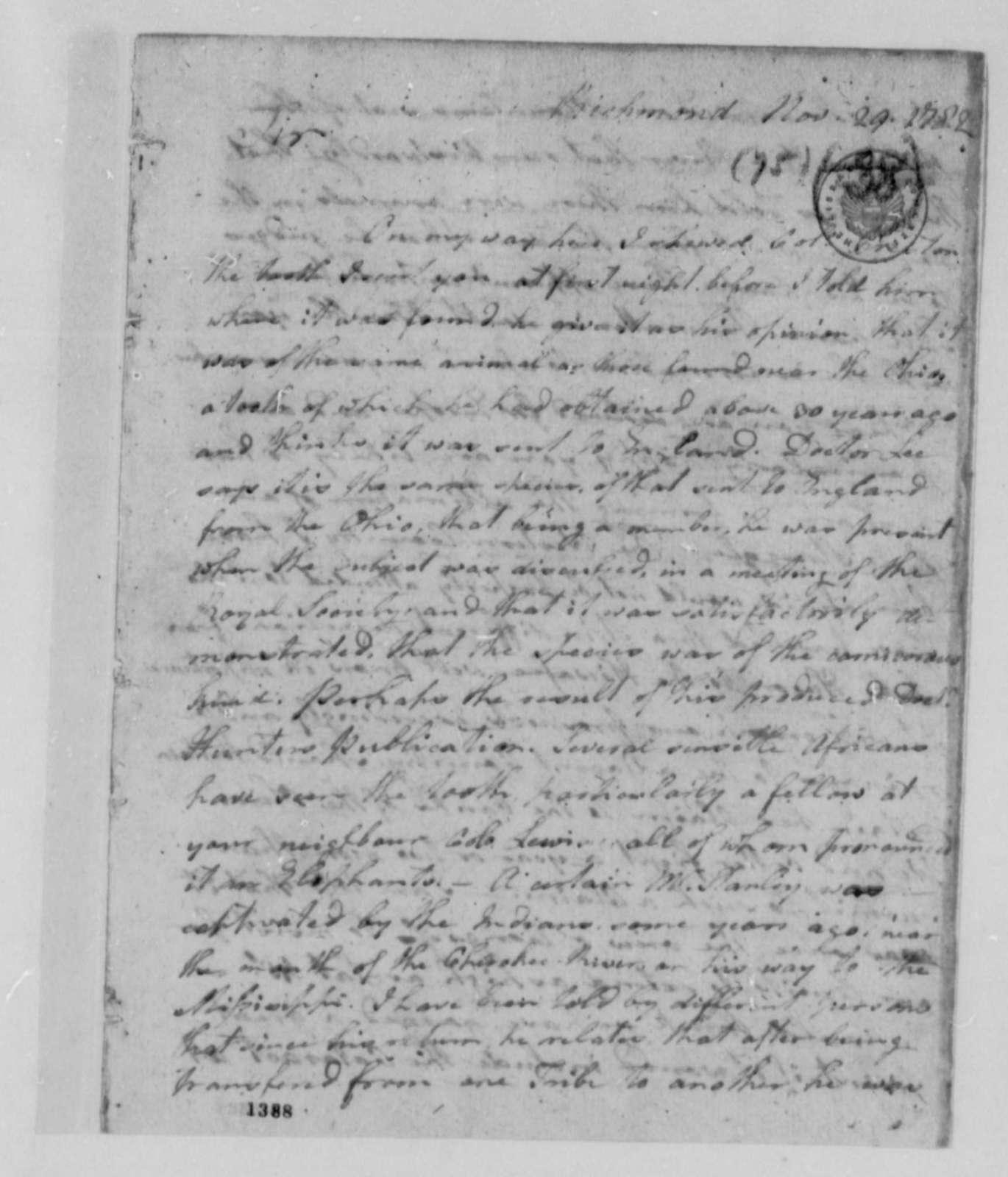 Arthur Campbell to Thomas Jefferson, November 29, 1782