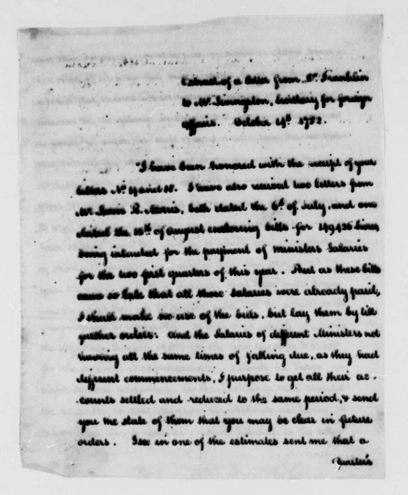 Benjamin Franklin to Robert R. Livingston, October 14, 1782, Extract and Copy
