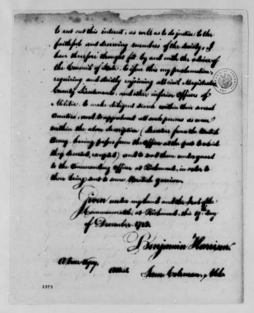 Benjamin Harrison, December 19, 1782, Proclamation on British Citizens; with Copy