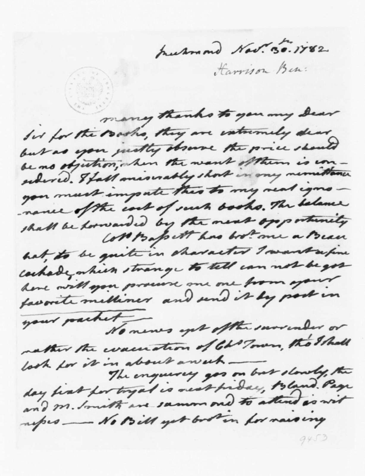 Benjamin Harrison to James Madison, November 30, 1782.